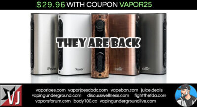 BACK IN STOCK:  EPOWER  5000MAH BOX MOD – $29.95