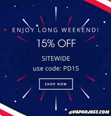 ALL WEEKEND LONG – 15% OFF SITE WIDE @ VAPORDNA