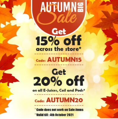 FALL SALE AT ECIGMAFIA – 15-20% OFF EVERYTHING